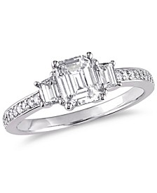 Certified Diamond (1 ct. t.w.) Emerald and Trapezoid-Shape Three-stone Engagement Ring in 14k White Gold