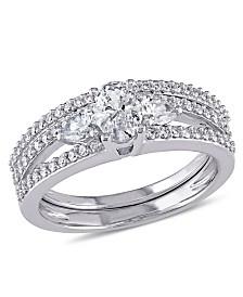 Certified Diamond (1-1/10 ct. t.w.) Oval-Shape 3-Stone Bridal Set in 14k White Gold