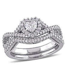 Certified Diamond (3/4 ct. t.w.) Heart-Shape Infinity Bridal Set in 14k White Gold