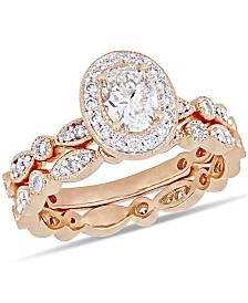 Certified Diamond (1 ct. t.w.) Oval Vintage Halo Bridal Set in 14k Rose Gold