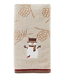 Woodcut Snowman 2-Pc. Hand Towel Set