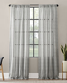 "Clean Window Textured Slub Stripe Anti-Dust Curtain Panel, 52"" x 95"""