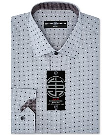 Society of Threads Men's Slim-Fit Non-Iron Performance Quad Dot Dress Shirt
