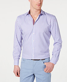Society of Threads Men's Slim-Fit Non-Iron Performance Striped Dress Shirt