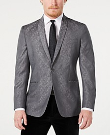 Men's Slim-Fit Silver Tonal Floral Evening Jacket