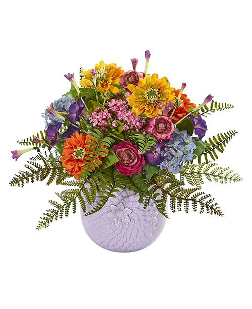 Nearly Natural Mixed Floral Artificial Arrangement in Purple Vase