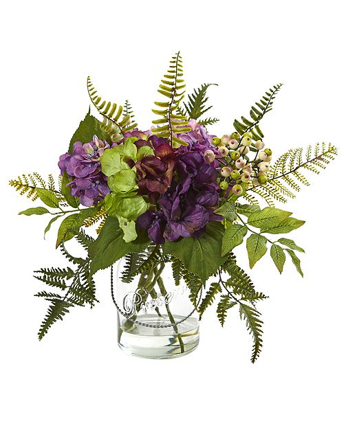"""Nearly Natural 14"""" Hydrangea and Berry Artificial Arrangement"""