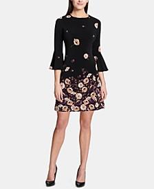 Printed Jersey Bell Sleeve A-line Dress