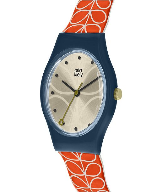 Lola Rose Orla Kiely Watch, Red Stem Strap With Buckle Closure