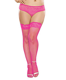 Plus Size Laced Stay Up Fishnet Thigh High