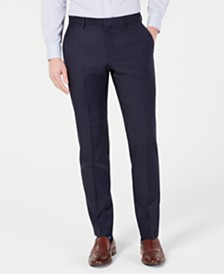 HUGO by Hugo Boss Men's Modern-Fit Wool Navy Plaid Suit Pants