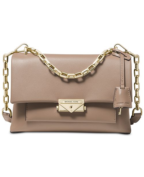 a97a80f5f96ae5 ... Michael Kors Cece Polished Leather Chain Small Shoulder Bag ...