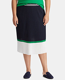 Lauren Ralph Lauren Plus Size Colorblocked Cotton Skirt