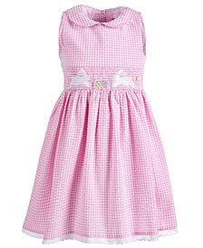 Good Lad Little Girls Smocked Gingham Seersucker Bunny Dress