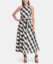 DKNY Plaid Maxi Dress with Tie Belt, Created for Macy's
