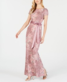 Adrianna Papell Metallic Textured Gown