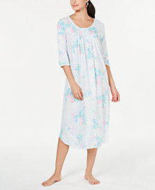 Miss Elaine Printed Long Knit Nightgown