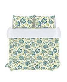 Bella Duvet Cover Set, Full/Queen, Cerulean