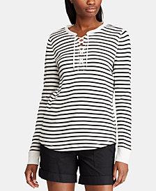 Lauren Ralph Lauren Lace-Up Striped Waffle-Knit Cotton Top