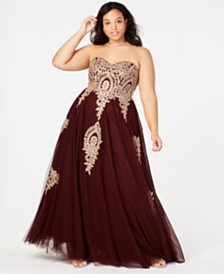 Say Yes to the Prom Trendy Plus Size Embroidered Strapless Gown, Created for Macy's