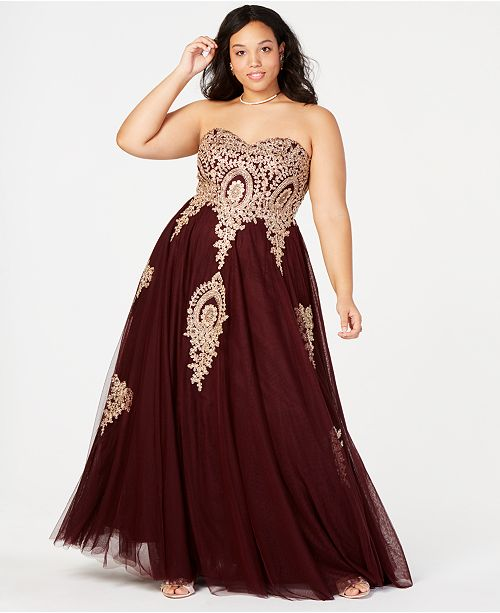 Say Yes to the Prom Trendy Plus Size Embroidered Strapless Gown ...