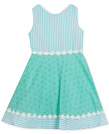 Rare Editions Little Girls Seersucker Eyelet Dress