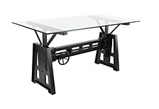 Rosemary Lane Modern Rectangular Black Wood and Metal Dining Table by Studio 350