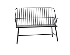 "Traditional 38"" x 48"" Black Iron Patio Bench"