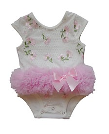 Baby Tutu Bodysuit Pink Embroidered