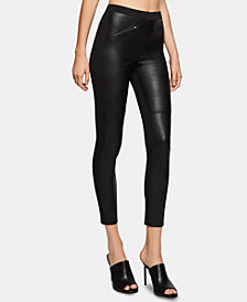 BCBGeneration Faux-Leather & Ponté-Knit Moto Leggings