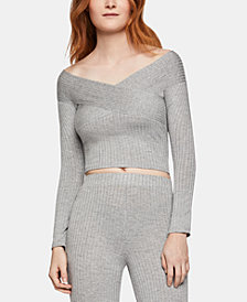 BCBGeneration Cropped Off-The-Shoulder Sweater