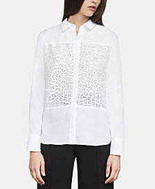 BCBGMAXAZRIA Lace-Panel Shirt