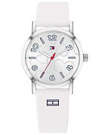 Tommy Hilfiger Women's Communion White Silicone Strap Watch 32mm  Created for Macy's