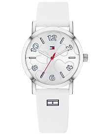 Tommy Hilfiger Women's White Silicone Strap Watch 32mm  Created for Macy's