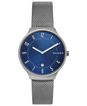 Skagen Watches MEN'S GRENEN GUNMETAL STAINLESS STEEL MESH BRACELET WATCH 38MM