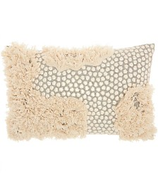 "Studio NYC Collection ""3D Sequins and Fringe"" Fossil Throw Pillow by Mina Victory"