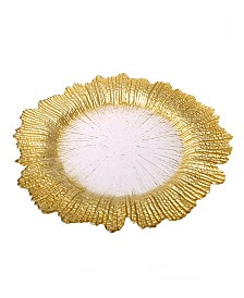Classic Touch Trophy Flower Shaped Charger Plates-Set of 4