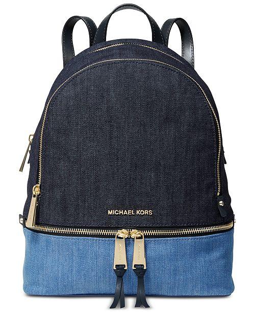 Michael Kors Rhea Denim Zip Backpack, Created for Macy's