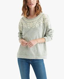 Lucky Brand Chenille Appliqué Cotton Sweatshirt