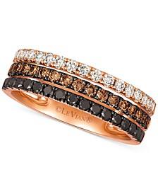 Chocolate Layer Cake™ Blackberry Diamonds®, Chocolate Diamonds® & Nude Diamonds® Statement Ring (7/8 ct. t.w.) in 14k Rose Gold