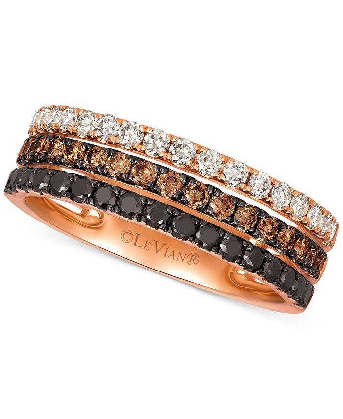 Le Vian - Tri-Tone Diamond (7/8 ct. t.w.) Layer Ring in 14k Rose Gold