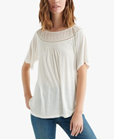 Lucky Brand Mixed-Knit Woven Top