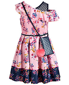 Beautees Big Girls Smocked Border-Print Skater Dress