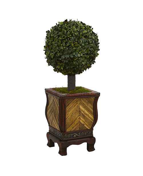 """Nearly Natural 27"""" Boxwood Ball Topiary Artificial Tree in Decorative Planter"""