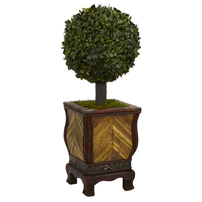 "Nearly Natural 27"" Boxwood Ball Topiary Artificial Tree in Decorative Planter"