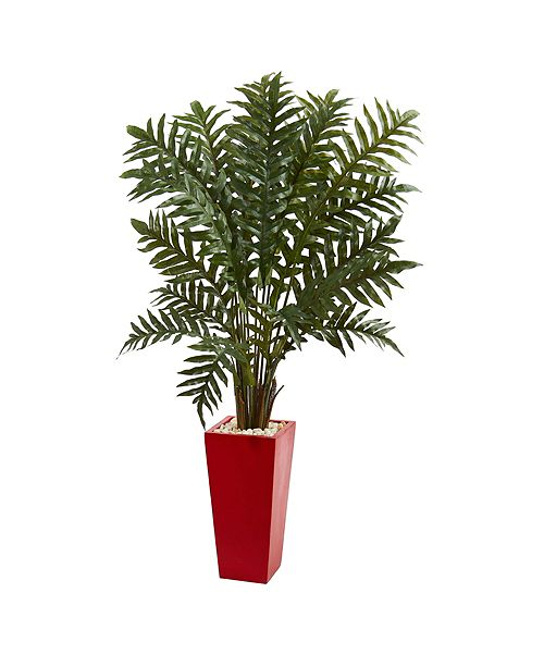 Nearly Natural 4.5' Evergreen Artificial Plant in Red Tower Vase