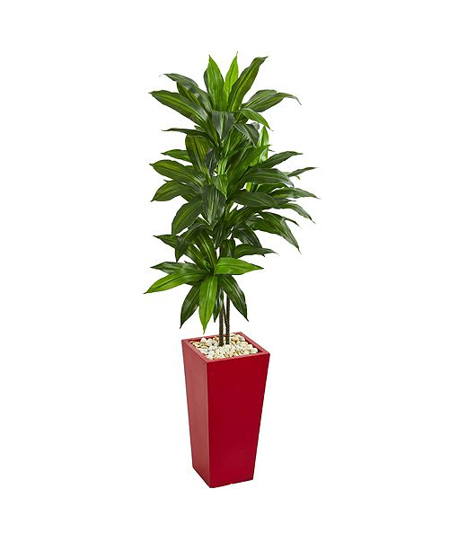 Nearly Natural 5' Dracaena Artificial Plant in Red Planter - Real Touch