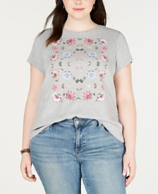 Lucky Brand Plus Size Cotton Floral T-Shirt