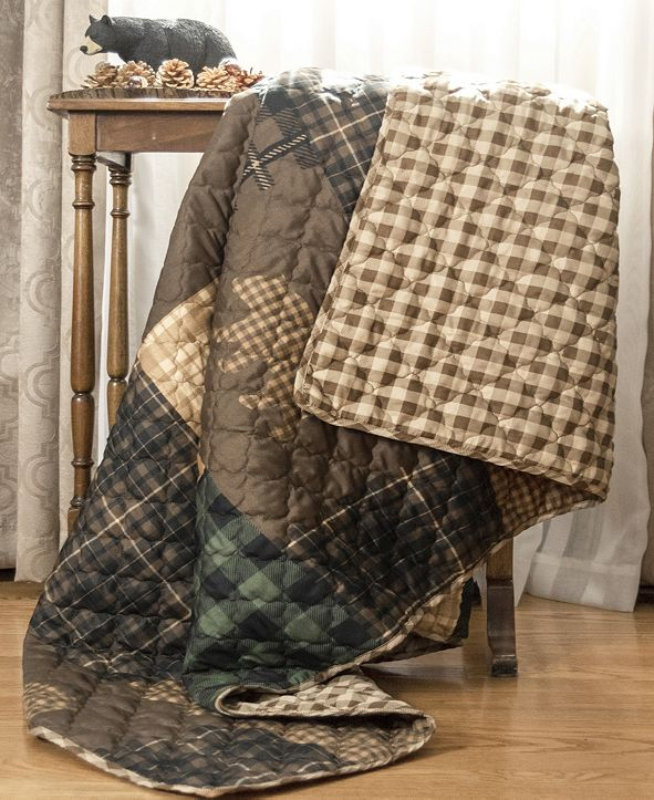 American Heritage Textiles Brown Bear Cabin Quilted Throw