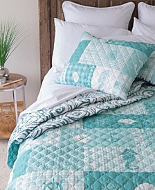 Seahorse Grid Quilt Collection, Queen
